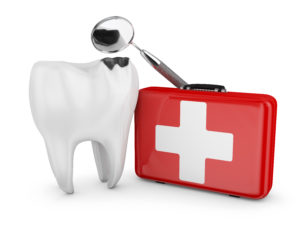 A tooth alongside an emergency kit