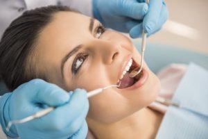 Woman having a dental checkup.